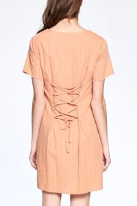 Drawstring Back Night Dress - Dusty Coral - Back