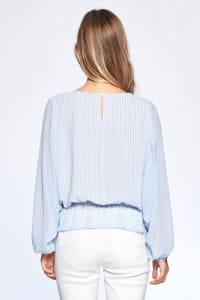 Long Sleeve Flutter Top - Blue - Back