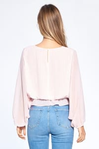 Long Sleeve Flutter Top - Pink - Back