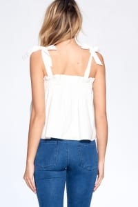 Bow Strap Flow Top - Ivory - Back
