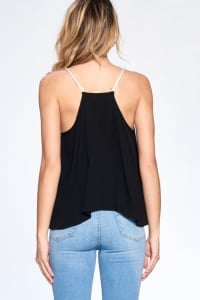 Bead Strap Flow Top - Black - Back