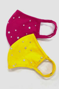 Pre-Order Silver Star Fashion Mask - Yellow - Back