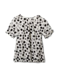 Mixed Dot Bubble Hem Woven Top - Black/White - Back