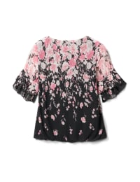 Placed Floral Bubble Hem Blouse - Black/Blush - Back