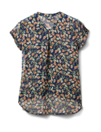 Pre-Order Floral Button Front Blouse - Navy/Coral/Green - Back