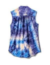 Denim Tie Dye Jaquard Pintuck Popover - Royal/Navy - Back