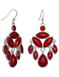 Red Stone Chandelier Earrings - Red - Back