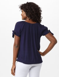 Smocked Peasant Grommet Tie Sleeve Top - Misses - Navy - Back
