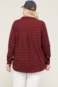 Burgundy Checkered Flannel Shirt - Burgundy - Back
