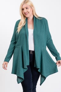 Double Knit Open Cardigan - Teal - Back