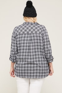 Flannel Shirt With Pockets - White / Black - Back