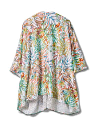 Palm Print Lace Kimono - Plus - Multi - Back