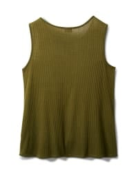Mixed Camo Knot Front Knit Top - Olive - Back
