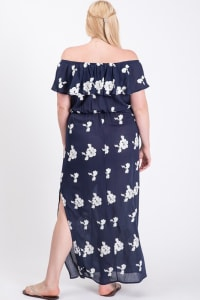 Carefree Off-Shoulder Maxi Dress - Navy / White - Back