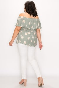 Sexy Off-Shoulder Top - Sage Flower - Back