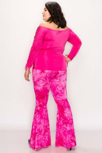 Bold Tie Dye Wide Leg Pants - HOT PINK - Back