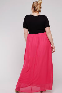 Maxi Dress With Short Sleeve - Black / Watermelon - Back