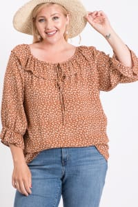 Ruffle Neck Line Top - Rust - Back