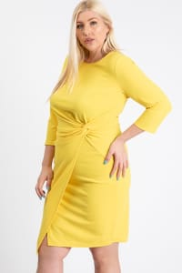Short Dress With A Front Twist - Yellow - Back