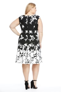 Floral Boarder Fit And Flare Dress - Black/White - Back
