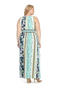Keyhole Neck Floral Stripe Maxi Dress - Navy/Aqua - Back