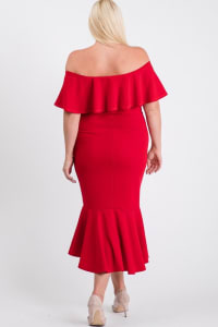 Turn Heads Ruffle Dress - Red - Back