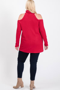 All You Need Cold Shoulder Top - Red - Back