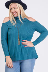 All You Need Cold Shoulder Top - Teal - Back