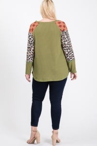 Pattern x Tiger print Sleeve Top - Sage / Animal - Back