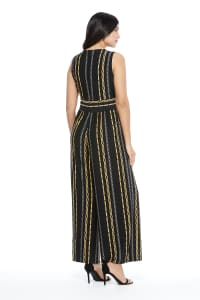 Pre-Order  Whitney Chain Stripe Jumpsuit - Black/Gold - Back