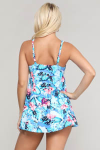 Rouched Front Flowy Skirted Swimsuit - Hibiscus Sky - Back