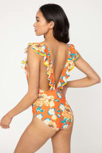 V Neck Double Ruffle Trim Swimsuit - Bramble Orange - Back