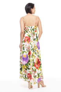 Floral Midi Knot Tie Sundress - Red/Purple - Back