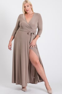 Ruffled With Love Wrap Maxi Dressd - Mocha - Back