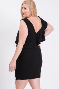 One Side Ruffle Dress - Black - Back