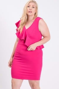 One Side Ruffle Dress - Fuchsia - Back
