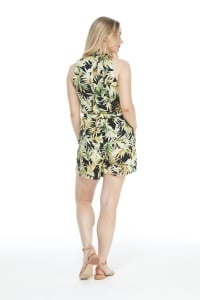 Catalina Short Jumpsuit - Black/Green - Back