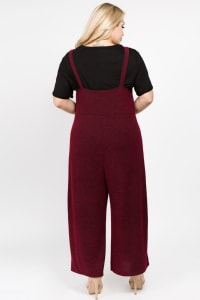 Casual Overall/ Jumpsuit - Wine - Back