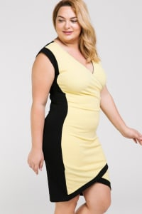 Show Don't Tell Wrap BodyCon Dress - Yellow / Black - Back