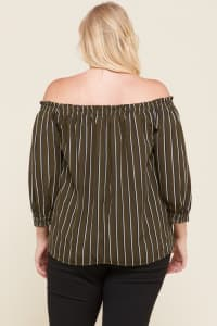 Stripes x Off-Shoulder Top - Olive - Back