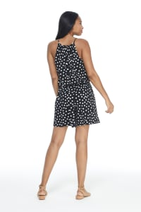 Suzette Short Jumpsuit - Black/White - Back