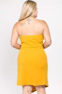 Grab Their Attention Dress - Mustard - Back