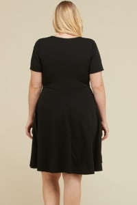 Cool Side Tape Dress - Black - Back