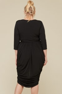 Blow Them Away Wrap-Style Dress - Black - Back