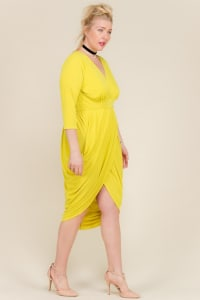 Blow Them Away Wrap-Style Dress - Yellow - Back