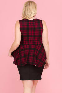 At The Office Dress - Black / Red - Back