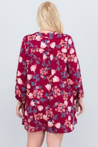 I Still Got It Floral Dress - Ruby - Back
