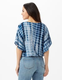 Tie Dye Wrap Woven Top - Navy - Back