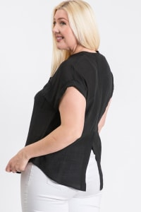 Breezy V-Neck Top - Black - Back