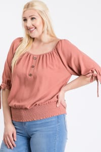 Simply Cute Off-Shoulder x Smocking Top - Terracotta - Back